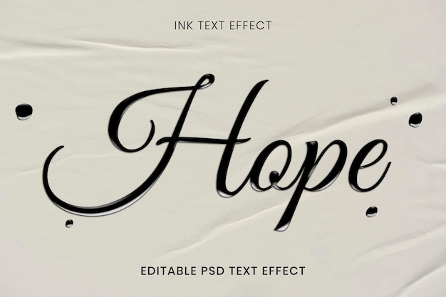 Geschmolzener bearbeitbarer psd-texteffekt im kalligraphie-stil