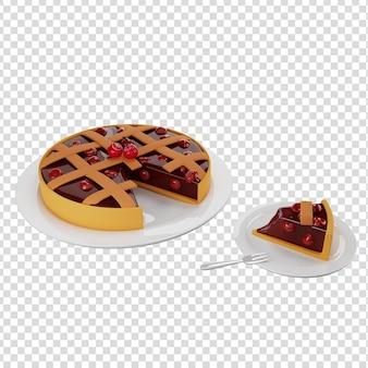 Geschnittenes stück kirschkuchen mit gitterkruste serviert auf einer untertasse 3d-rendering