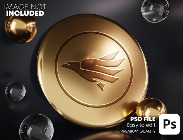 Geschnitztes gold-logo-modell auf goldenem zylinder zwischen gold- und glasblasen. schwarzer hintergrund.