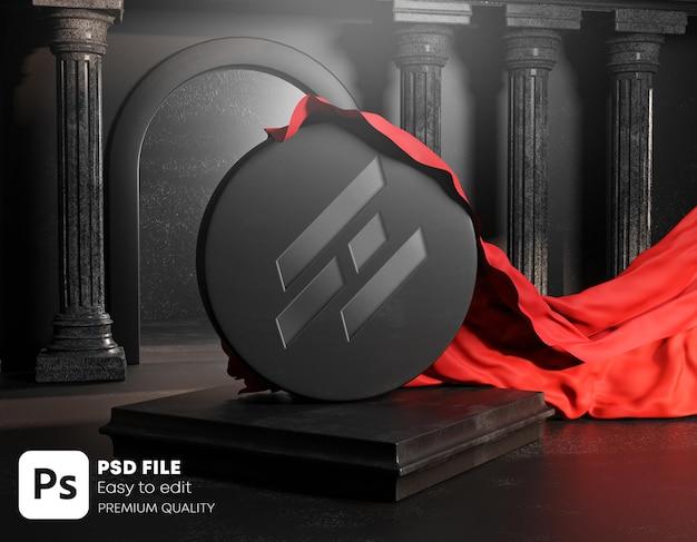 Geschnitztes logo enthüllt roten stoffbezug aus runden klassischen säulen aus schwarzem stein