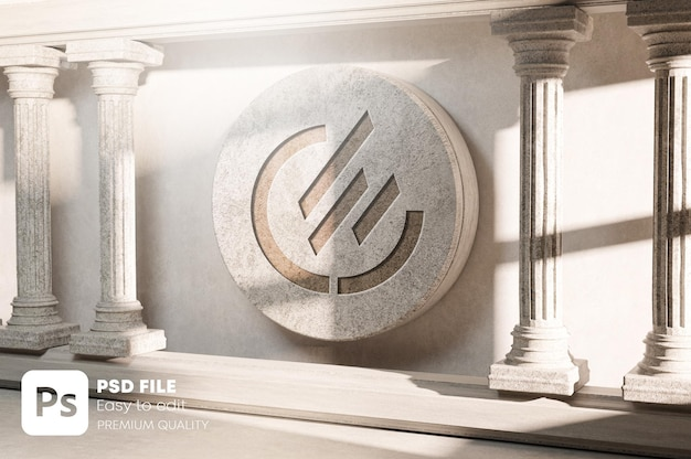 Geschnitztes logo-modell auf stone classic pillar column colonade realistisches 3d-rendering