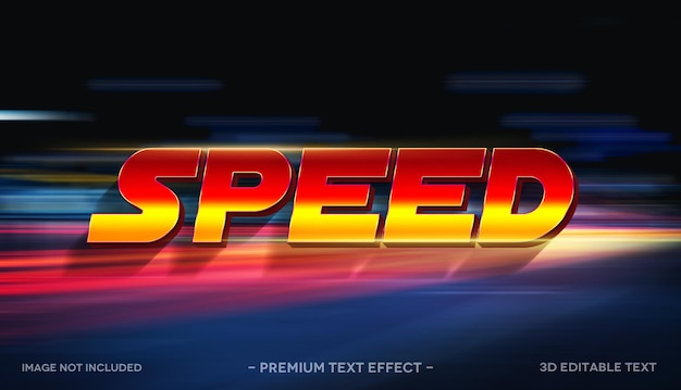 Geschwindigkeit 3d-texteffekt-mockup-vorlage