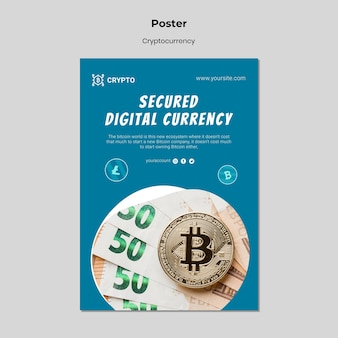Gesicherte digitale währungsplakatvorlage