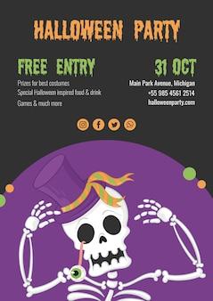 Gespenstische halloween-party mit dem skelett