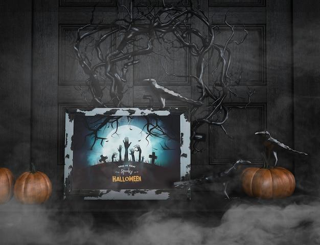Gespenstisches halloween mit schwarzen zweigen süßes oder saures