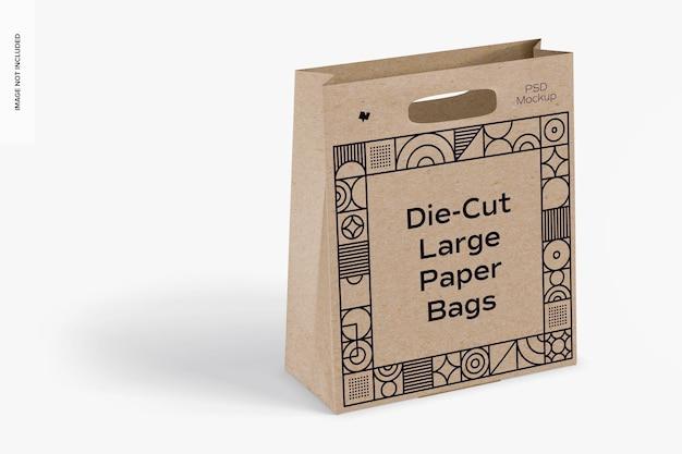 Gestanzte große papiertüte mockup