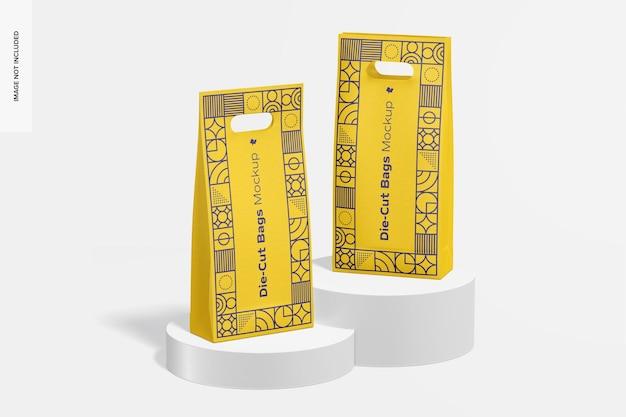 Gestanztes modell für hohe papiertüten, vorderansicht