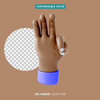 Gestensymbol der hand 3d mit drei fingern