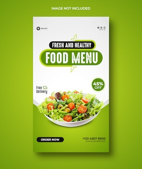Gesunde ernährung menü und restaurant instagram stories