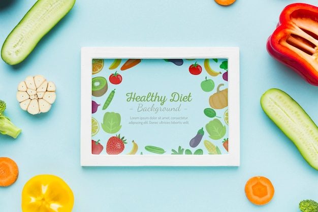 Gesunde ernährung mit frischem gemüse