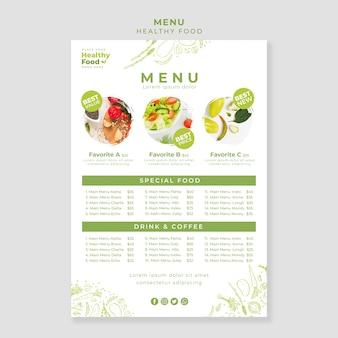 Gesunde ernährung restaurant menüvorlage