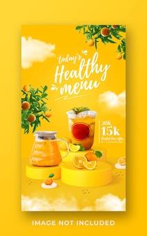 Gesunde getränkekarte förderung social media instagram post banner vorlage