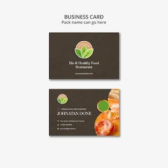 Gesunde lebensmittel restaurant visitenkarte vorlage