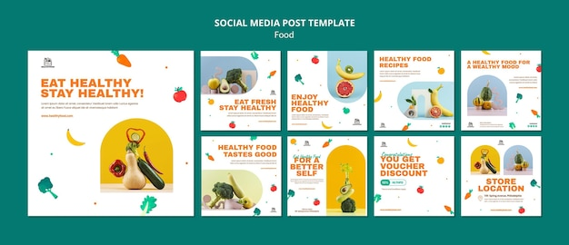 Gesunde lebensmittel social-media-beiträge