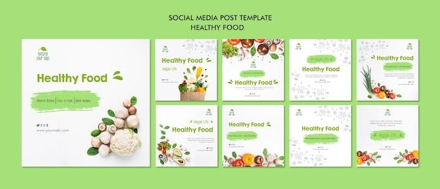 Gesunde lebensmittel social media post vorlage