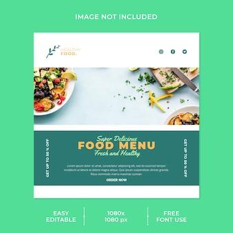 Gesunde lebensmittel und menü restaurant social media post vorlage