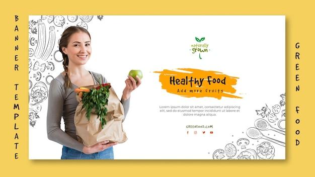 Gesunde lebensmittelfahnenschablone mit bild
