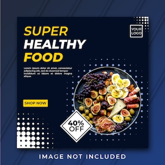 Gesunde lebensmittelquadratbannervorlage