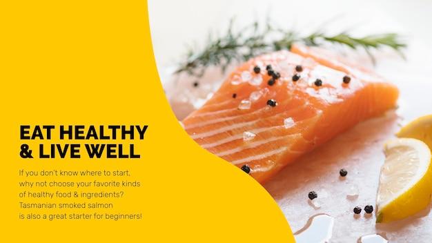 Gesunde lebensmittelvorlage psd mit frischer lachs-marketing-lifestyle-präsentation in abstraktem memphis-design