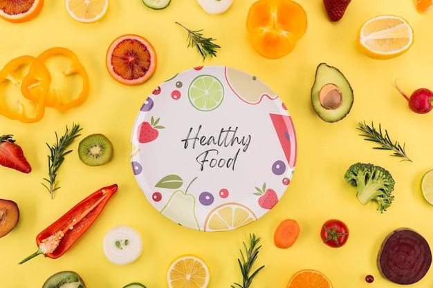 Gesunde lebensweise von bio-lebensmitteln draufsicht