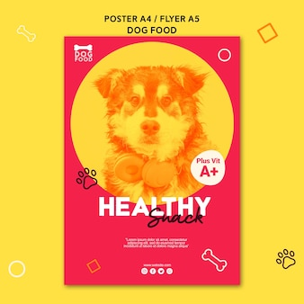 Gesunde snack-hundefutterplakatschablone