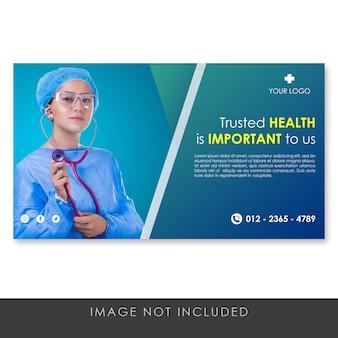 Gesunde und medizinische blaue schablone der fahne