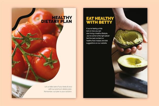 Gesunde vegane vorlage psd lifestyle marketing food poster set