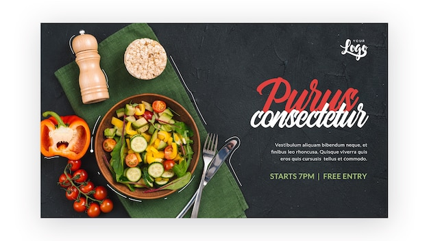 Gesunder salat mit flachem design