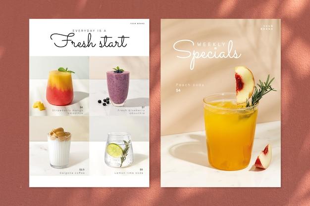 Gesundes café-poster-vorlagen-psd-set
