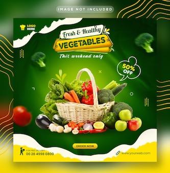 Gesundes essen gemüse- und lebensmittel-social-media-instagram-post und web-banner-vorlage