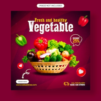 Gesundes essen und gemüse social media und instagram-post-banner-vorlage