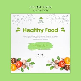 Gesundes nahrungsmittelfliegerschablonenkonzept