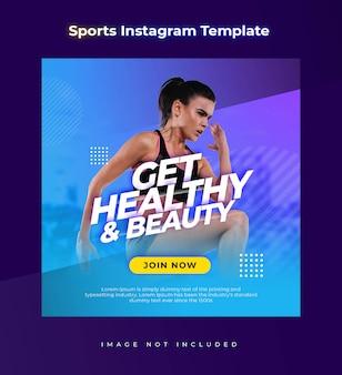 Gesundheits- und schönheitsgym instagramm-schablone