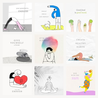 Gesundheits- und wellness-vorlagen psd bunte und süße illustrationen set