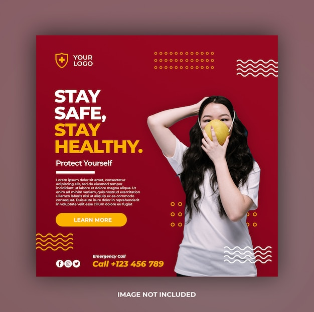Gesundheitsbanner oder quadratischer flyer mit viruspräventionsthema für social-media-beitragsvorlage