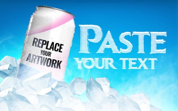 Getränkedose mit eiswürfeln, die modell annoncieren