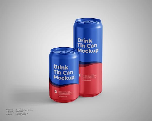 Getränkedose mockup, standard- und große größe