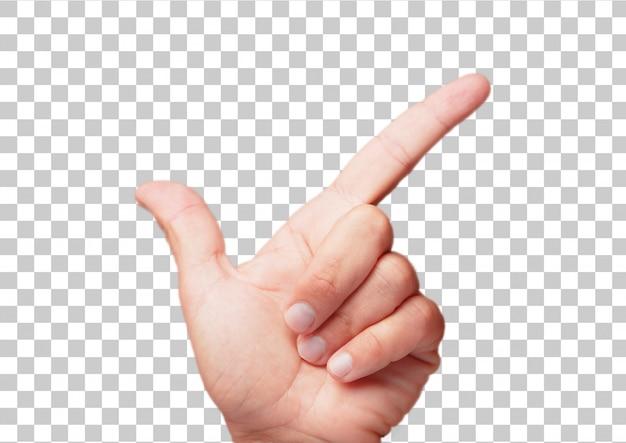 Getrennte männliche hand, die geste zeigt