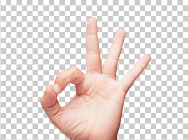 Getrennte männliche hand ganz recht oder okayzeichen