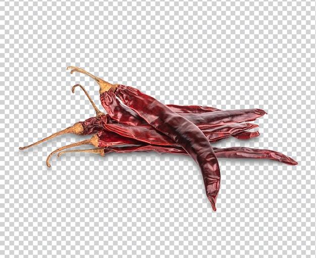 Getrocknete rote chili oder chili cayennepfeffer isoliert premium psd