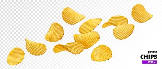 Gewellte kartoffelchips isoliert