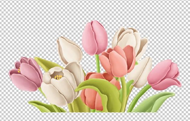 Gezeichnete illustration des tulpenblumenstraußes hand