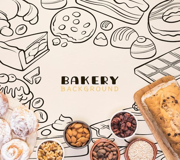 Gezeichnetes design des bäckereihintergrundes hand mit nüssen in den schüsseln