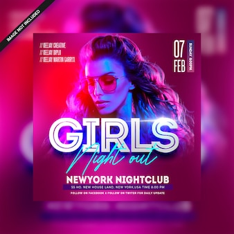 Girls night out club party flyer