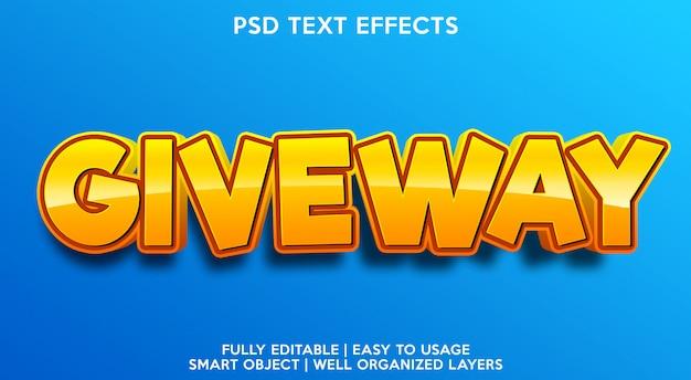 Giveway-texteffektvorlage