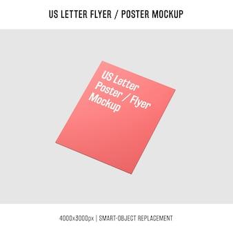 Glänzend uns brief flyer oder poster mock-up