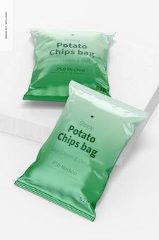 Glänzende chips taschen mockup