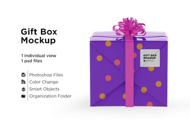 Glänzende geschenkbox mockup seitenansicht