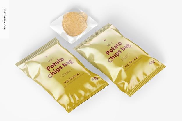 Glänzende mini-kartoffelchips-taschen mockup