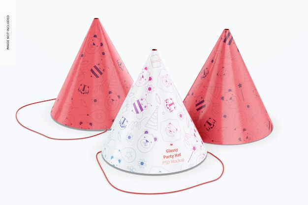 Glänzende partyhüte mockup, vorderansicht